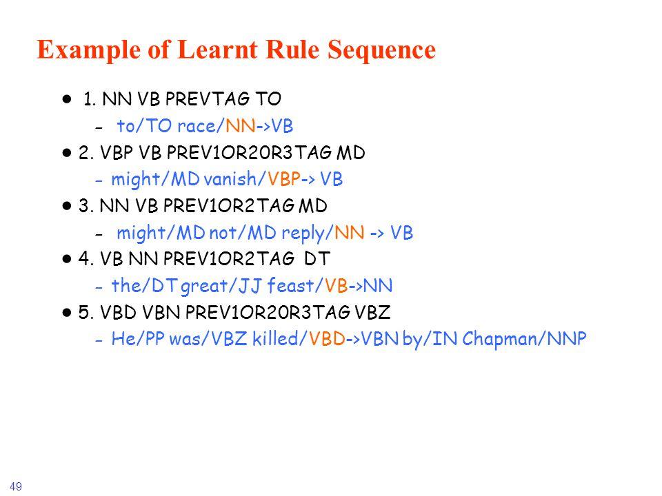 49 Example of Learnt Rule Sequence 1. NN VB PREVTAG TO - to/TO race/NN->VB 2. VBP VB PREV1OR20R3TAG MD -might/MD vanish/VBP-> VB 3. NN VB PREV1OR2TAG