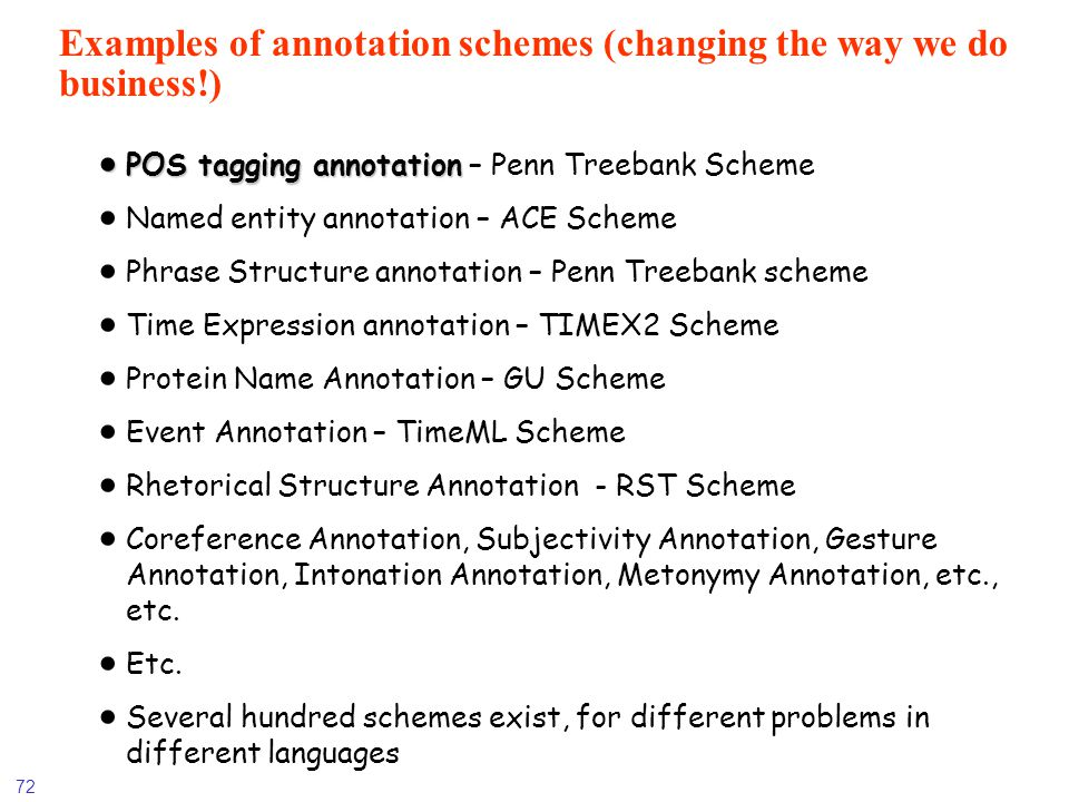 72 Examples of annotation schemes (changing the way we do business!) POS tagging annotation POS tagging annotation – Penn Treebank Scheme Named entity