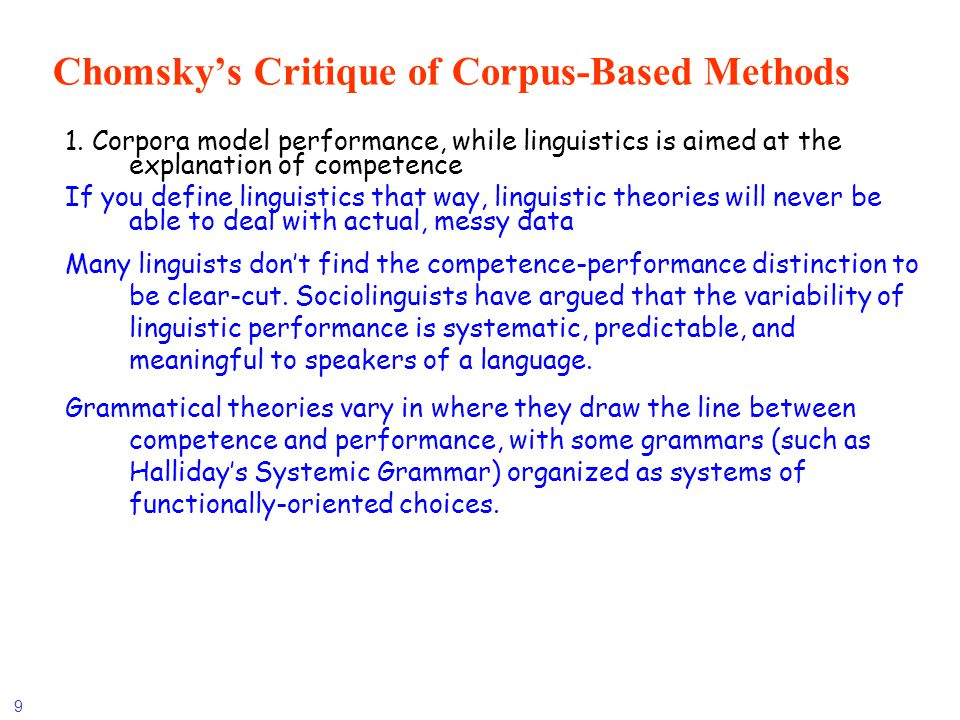 10 Chomskys Critique (concluded) 2.