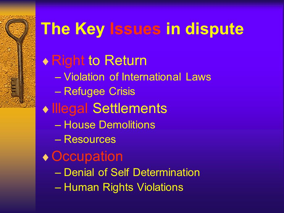 The Key Issues in dispute Right to Return –V–Violation of International Laws –R–Refugee Crisis Illegal Settlements –H–House Demolitions –R–Resources Occupation –D–Denial of Self Determination –H–Human Rights Violations