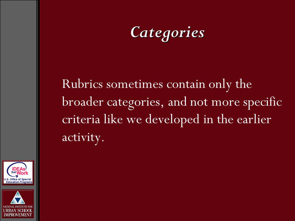 Categories Rubrics sometimes contain only the broader categories, and not more specific criteria like we developed in the earlier activity.