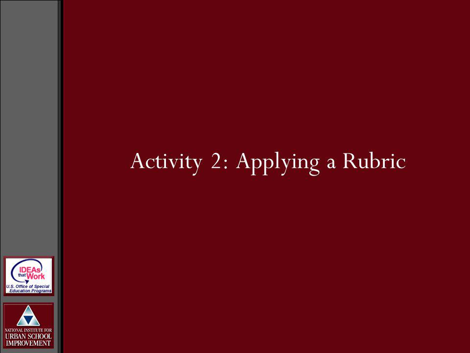 Activity 2: Applying a Rubric