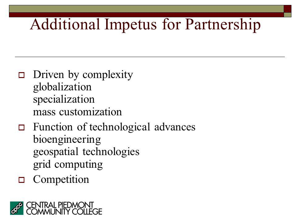 Additional Impetus for Partnership Driven by complexity globalization specialization mass customization Function of technological advances bioengineer
