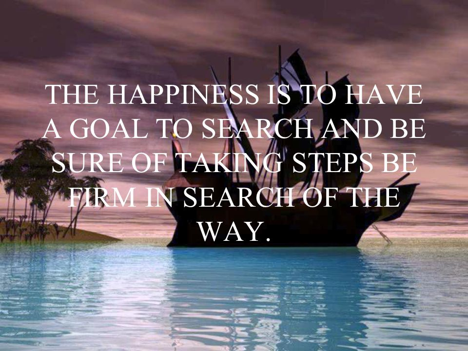 THE HAPPINESS IS TO HAVE A GOAL TO SEARCH AND BE SURE OF TAKING STEPS BE FIRM IN SEARCH OF THE WAY.