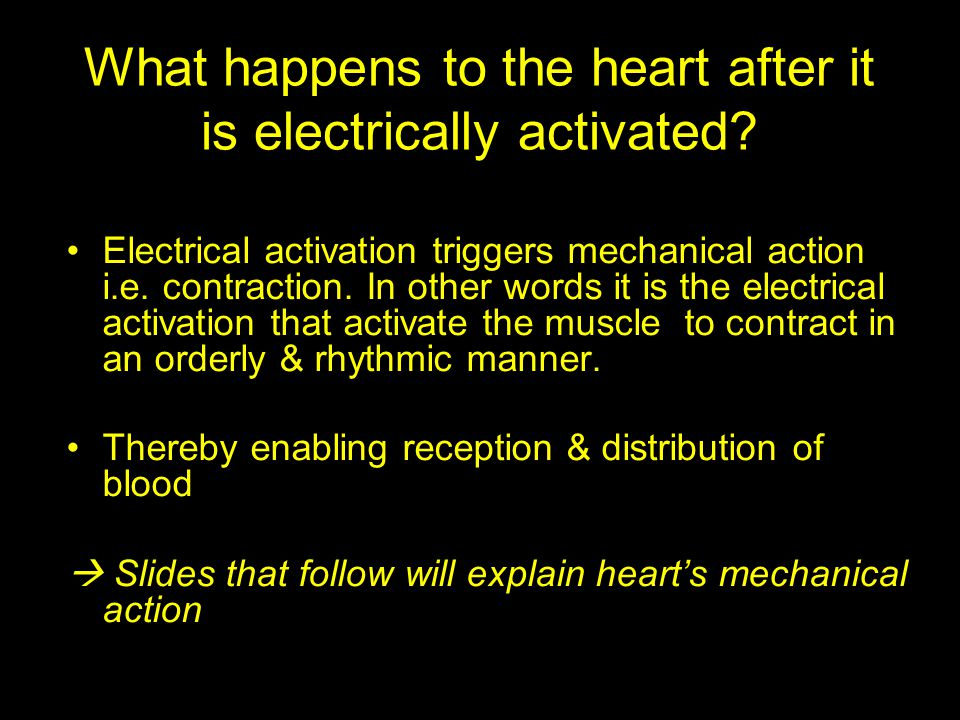 What happens to the heart after it is electrically activated? Electrical activation triggers mechanical action i.e. contraction. In other words it is