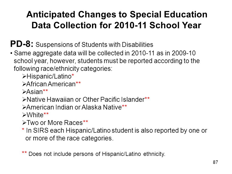 87 Anticipated Changes to Special Education Data Collection for 2010-11 School Year PD-8: Suspensions of Students with Disabilities Same aggregate dat