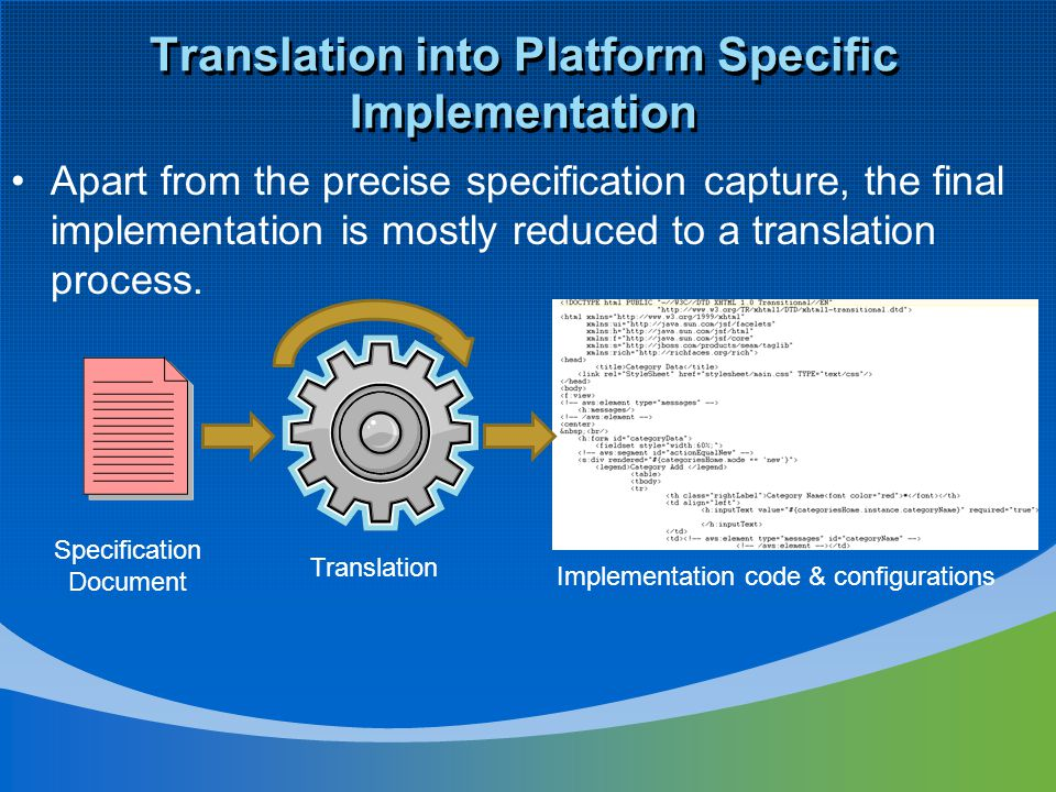 Translation into Platform Specific Implementation Apart from the precise specification capture, the final implementation is mostly reduced to a transl