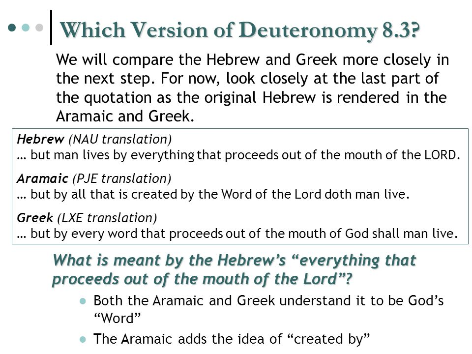 Which Version of Deuteronomy 8.3.
