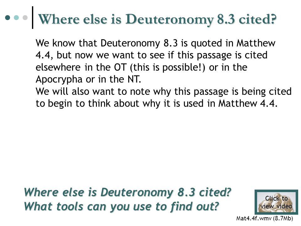 Where else is Deuteronomy 8.3 cited. Where else is Deuteronomy 8.3 cited.