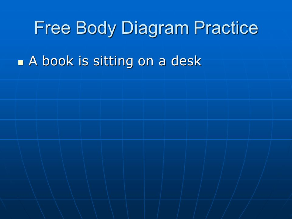 Free Body Diagram Practice A book is sitting on a desk A book is sitting on a desk