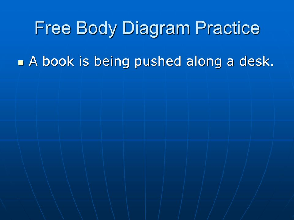 Free Body Diagram Practice A book is being pushed along a desk. A book is being pushed along a desk.