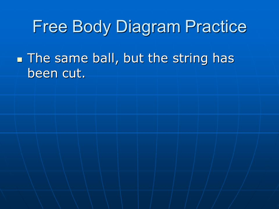 Free Body Diagram Practice The same ball, but the string has been cut. The same ball, but the string has been cut.