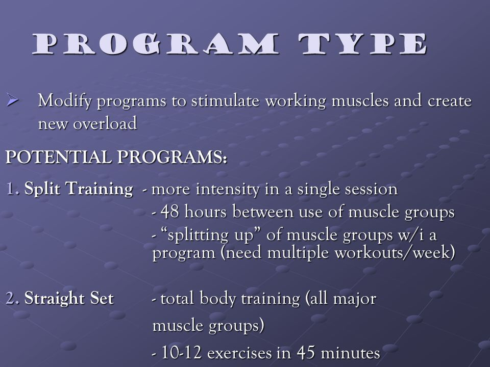 Program type Modify programs to stimulate working muscles and create new overload Modify programs to stimulate working muscles and create new overload POTENTIAL PROGRAMS: 1.