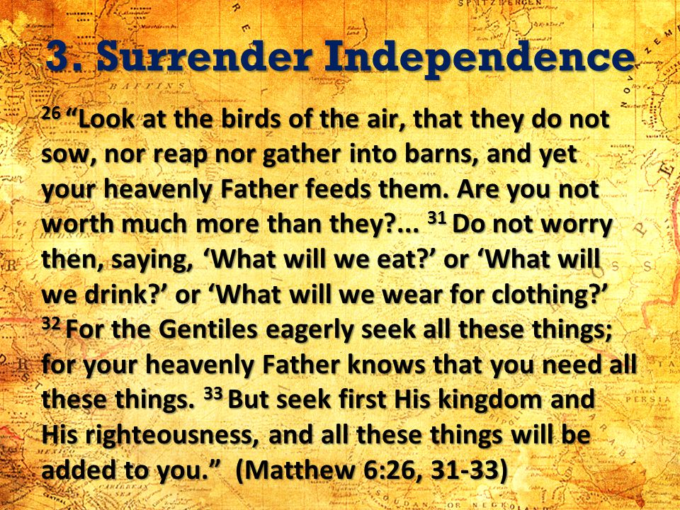 3. Surrender Independence 26 Look at the birds of the air, that they do not sow, nor reap nor gather into barns, and yet your heavenly Father feeds th