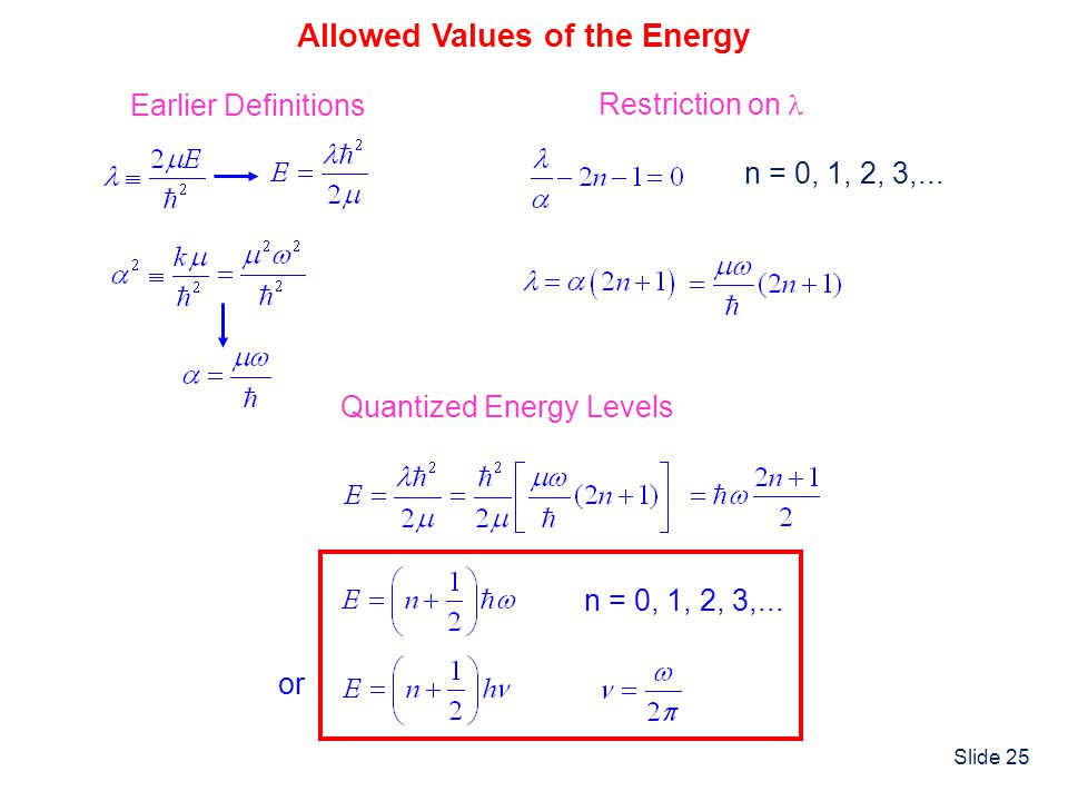 Slide 25 Allowed Values of the Energy Earlier Definitions Restriction on n = 0, 1, 2, 3,... Quantized Energy Levels or