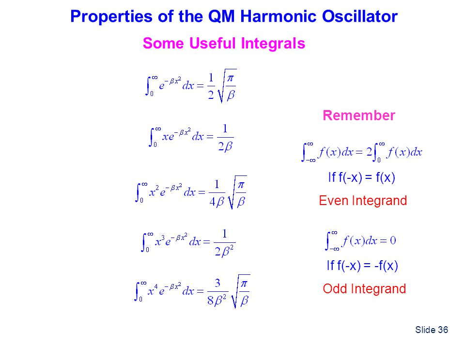 Slide 36 Properties of the QM Harmonic Oscillator Some Useful Integrals Remember If f(-x) = f(x) Even Integrand If f(-x) = -f(x) Odd Integrand