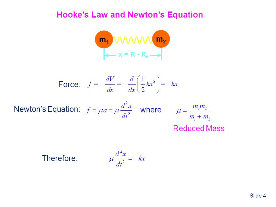 Slide 4 m1m1 m2m2 x = R - R e Hookes Law and Newtons Equation Force: Newtons Equation: where Reduced Mass Therefore: