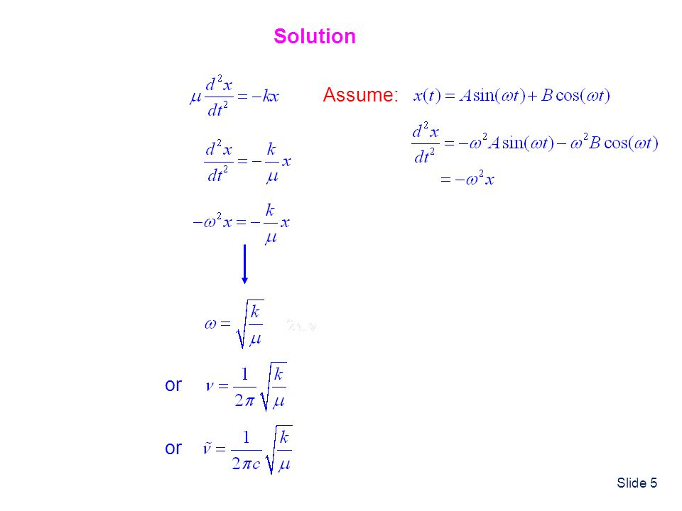Slide 6 Initial Conditions (like BCs) Lets assume that the HO starts out at rest stretched out to x = x 0.