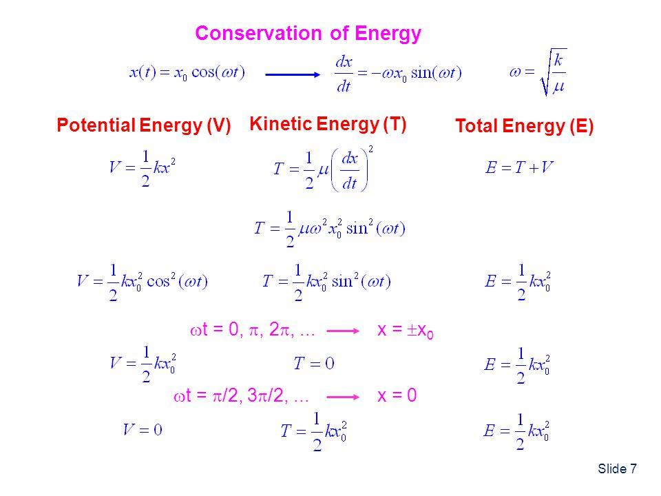 Slide 8 Classical HO Properties Energy: E = T + V = ½kx 0 2 = Any Valuei.e.