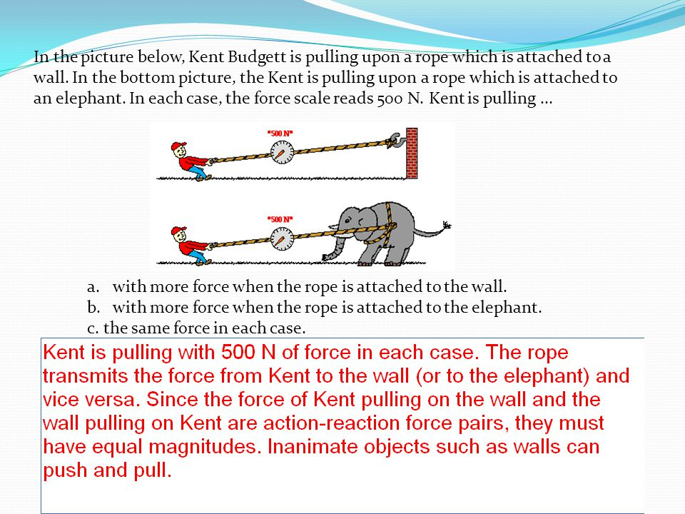 In the picture below, Kent Budgett is pulling upon a rope which is attached to a wall. In the bottom picture, the Kent is pulling upon a rope which is
