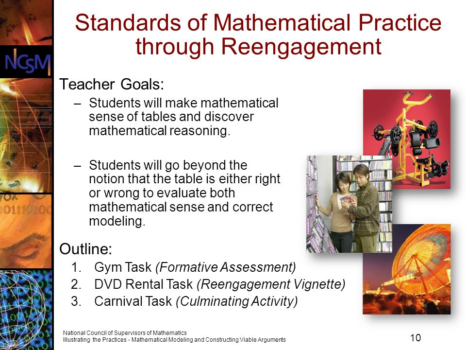 10 National Council of Supervisors of Mathematics Illustrating the Practices - Mathematical Modeling and Constructing Viable Arguments Standards of Ma