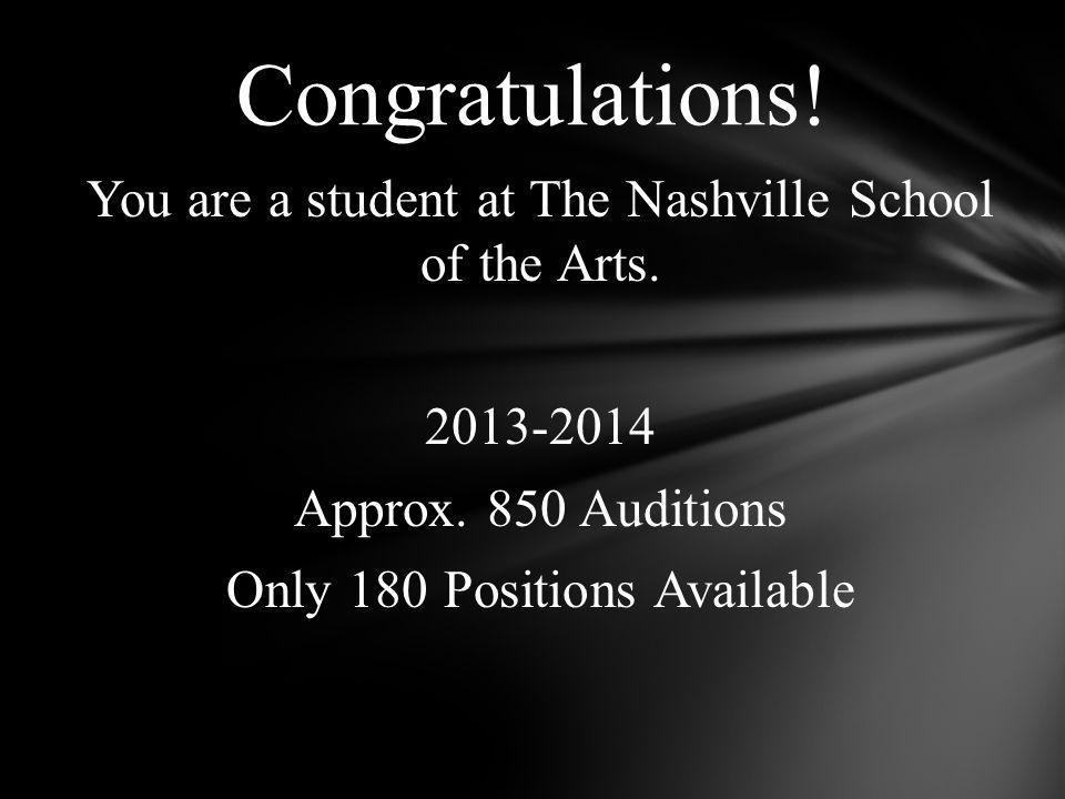You are a student at The Nashville School of the Arts.