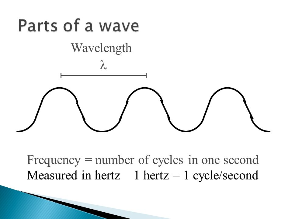 Wavelength Frequency = number of cycles in one second Measured in hertz 1 hertz = 1 cycle/second