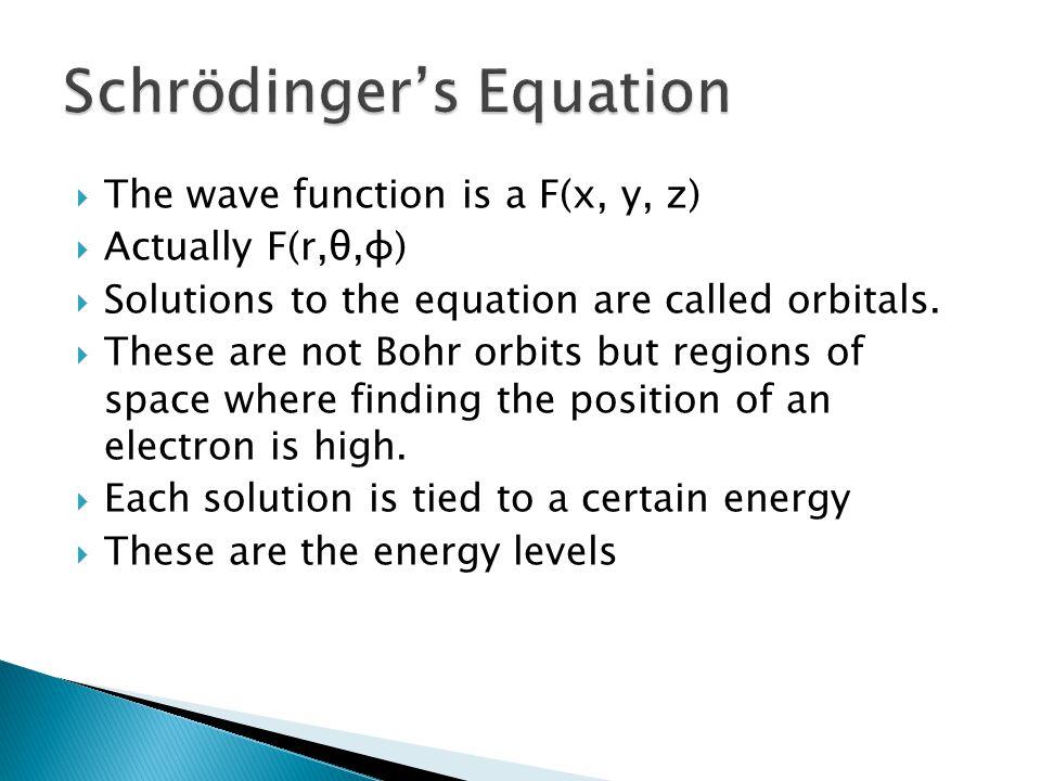 The wave function is a F(x, y, z) Actually F(r,θ,φ) Solutions to the equation are called orbitals. These are not Bohr orbits but regions of space wher