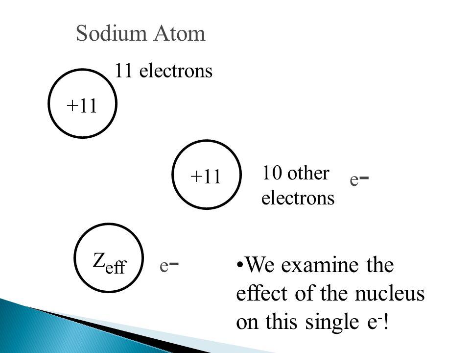 +11 11 electrons e-e- Z eff Sodium Atom +11 10 other electrons e-e- We examine the effect of the nucleus on this single e - !