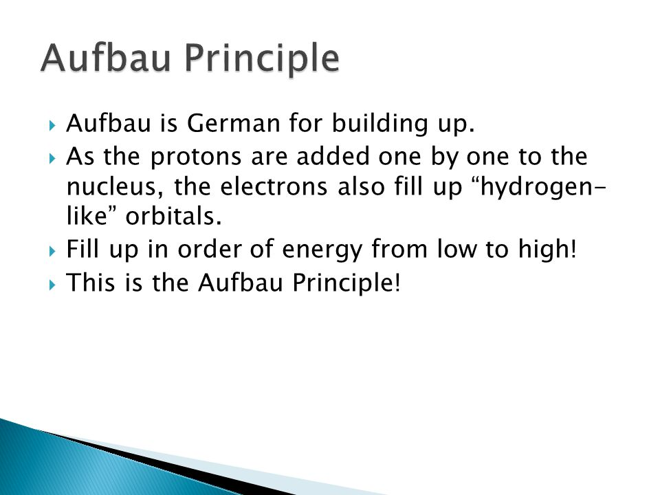 Aufbau is German for building up. As the protons are added one by one to the nucleus, the electrons also fill up hydrogen- like orbitals. Fill up in o
