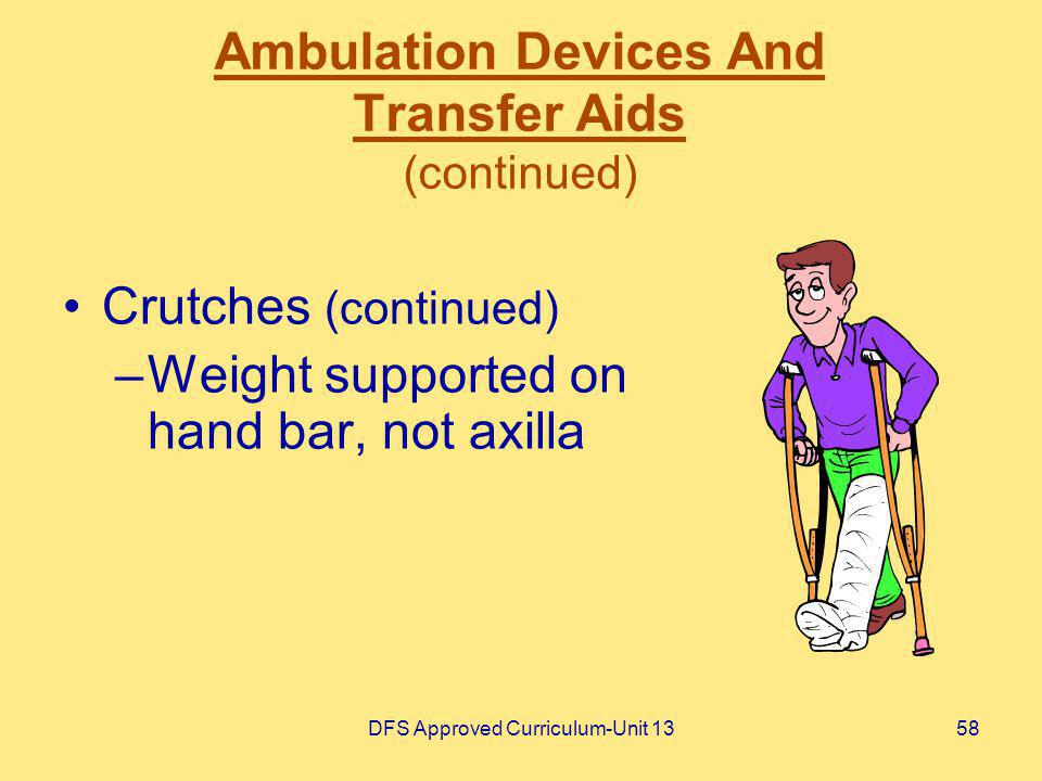 DFS Approved Curriculum-Unit 1358 Ambulation Devices And Transfer Aids (continued) Crutches (continued) –Weight supported on hand bar, not axilla