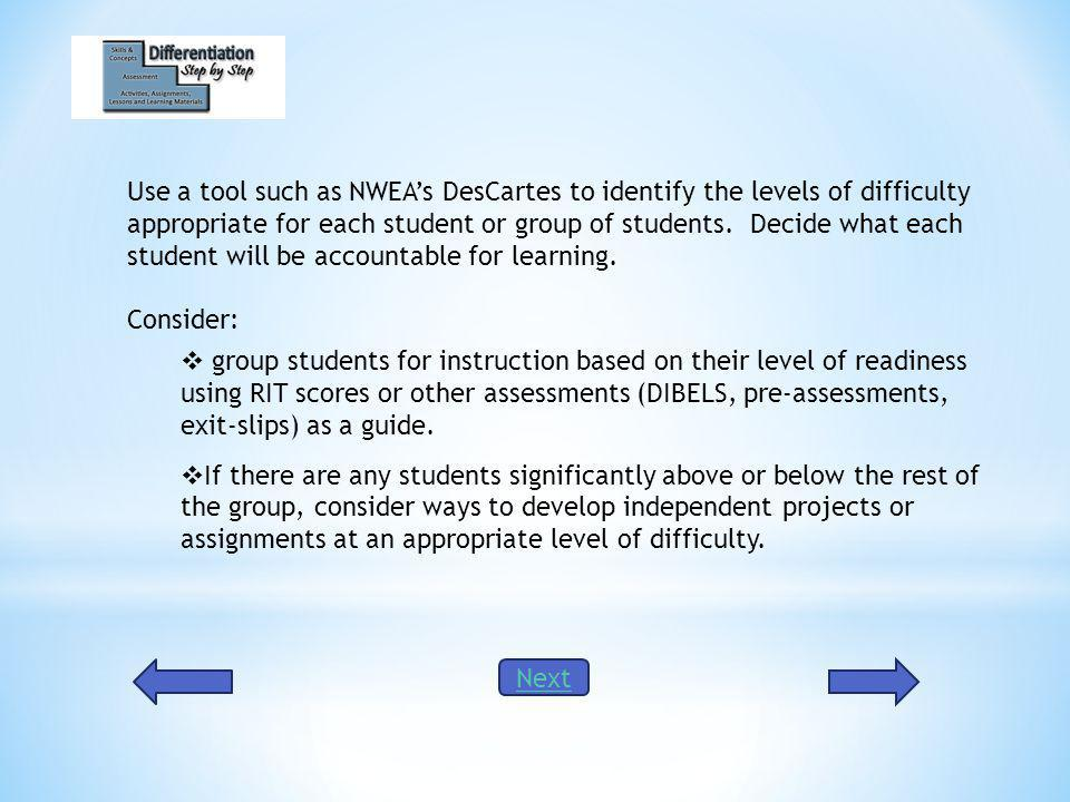 Use a tool such as NWEAs DesCartes to identify the levels of difficulty appropriate for each student or group of students.