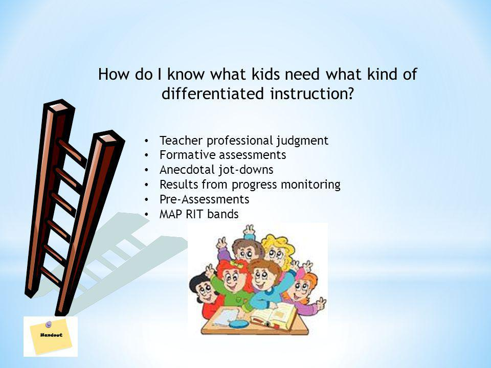 How do I know what kids need what kind of differentiated instruction.