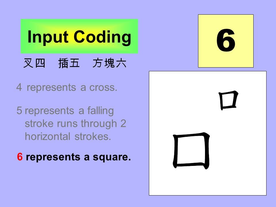 5 Input Coding 4represents a cross. 5represents the combination of a falling stroke runs through 2 horizontal strokes.