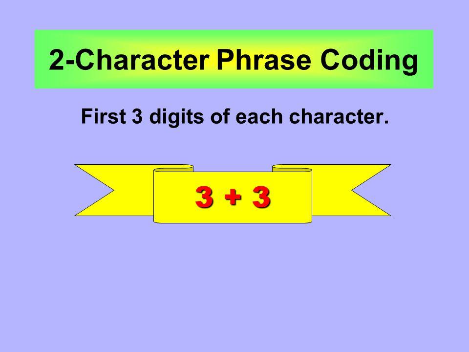 Phrase 2-Character Phrase 4-Character Phrase 3-Character Phrase Multi-character Phrase 6 maximum digits