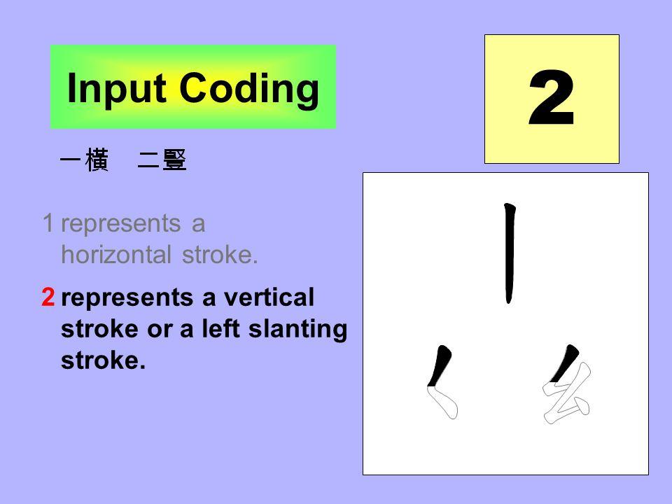 2 1represents a horizontal stroke.2represents a vertical stroke or a left slanting stroke.