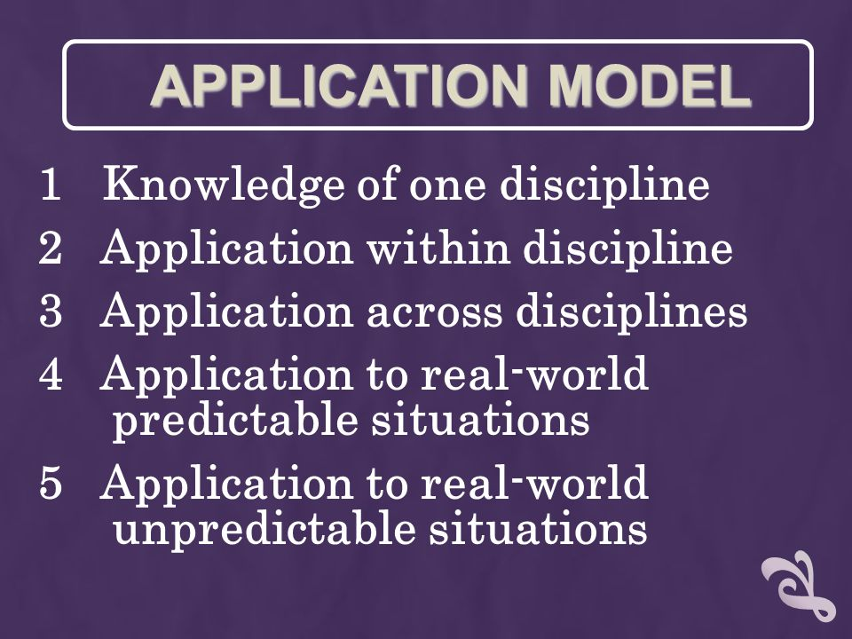 1 Knowledge of one discipline 2 Application within discipline 3 Application across disciplines 4 Application to real-world predictable situations 5 Ap