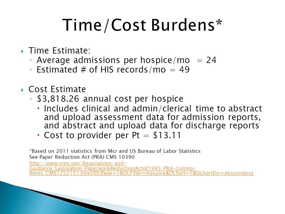 Time Estimate: Average admissions per hospice/mo = 24 Estimated # of HIS records/mo = 49 Cost Estimate $3,818.26 annual cost per hospice Includes clin