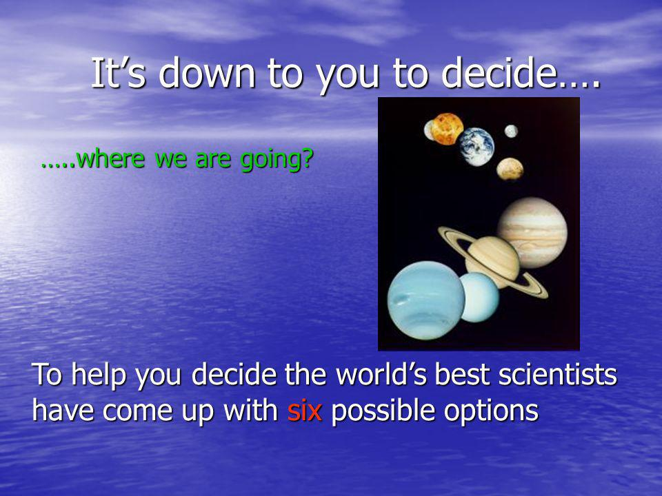 Its down to you to decide…. Its down to you to decide….