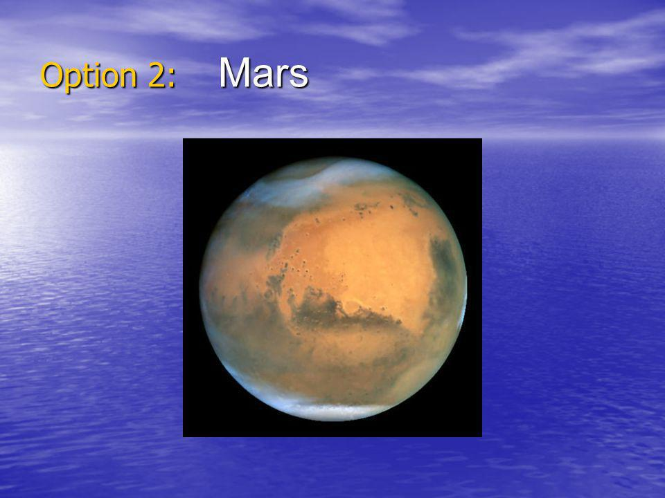 Mars Facts Closest temperature to the earth (still can get to -133C in winter Closest temperature to the earth (still can get to -133C in winter Thin carbon dioxide atmosphere Thin carbon dioxide atmosphere Length of a day is nearly the same as on earth Length of a day is nearly the same as on earth 5.25 earth months to travel there 5.25 earth months to travel there Gravity is about a third as strong as on earth Gravity is about a third as strong as on earth Mars is plagued by giant dust storms Mars is plagued by giant dust storms The frozen polar caps are mostly made of carbon dioxide but there may be a little frozen water too The frozen polar caps are mostly made of carbon dioxide but there may be a little frozen water too