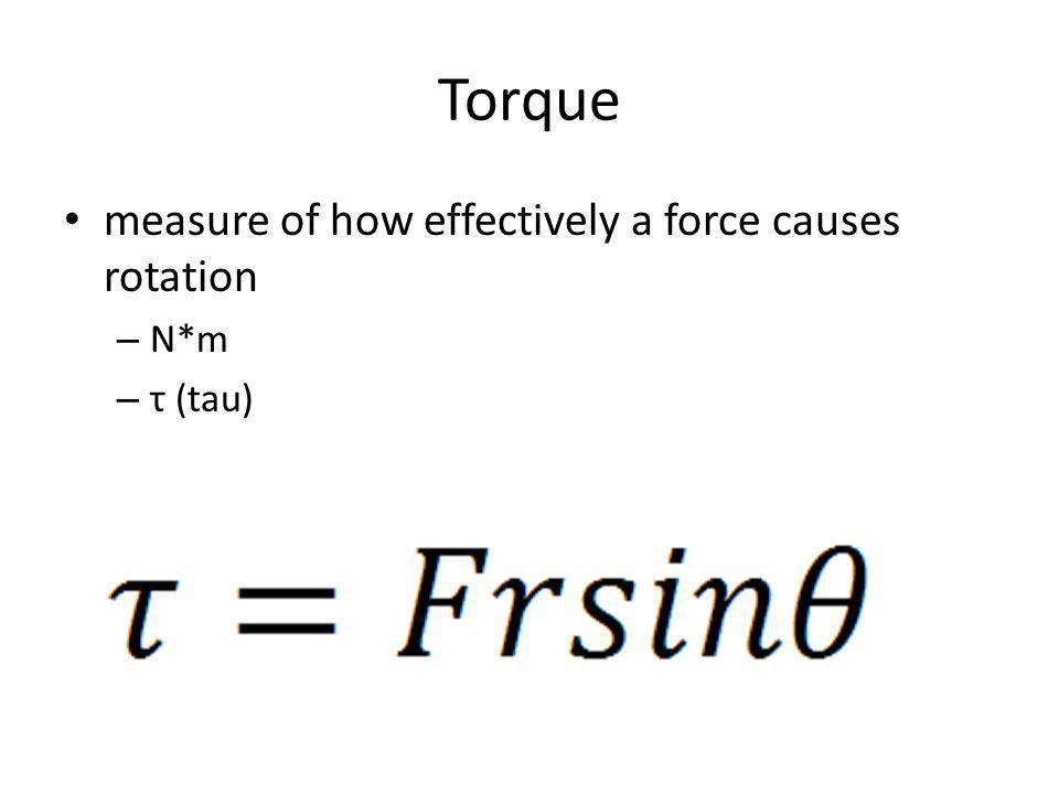 Torque measure of how effectively a force causes rotation – N*m – τ (tau)