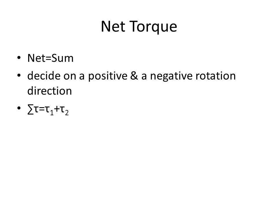 Net Torque Net=Sum decide on a positive & a negative rotation direction τ=τ 1 +τ 2