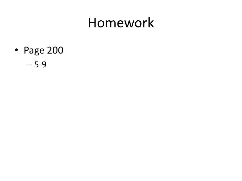Homework Page 200 – 5-9