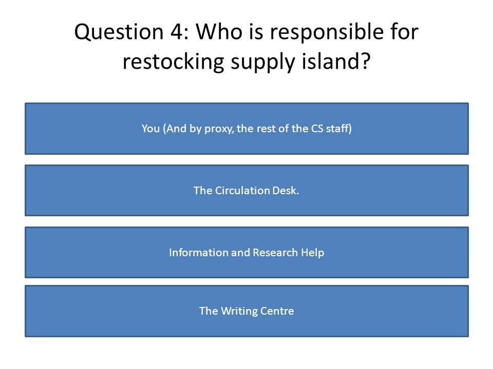 Question 4: Who is responsible for restocking supply island? You (And by proxy, the rest of the CS staff) The Circulation Desk. Information and Resear