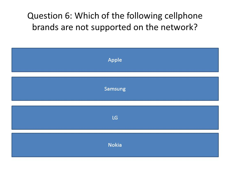 Question 6: Which of the following cellphone brands are not supported on the network? Apple Samsung LG Nokia