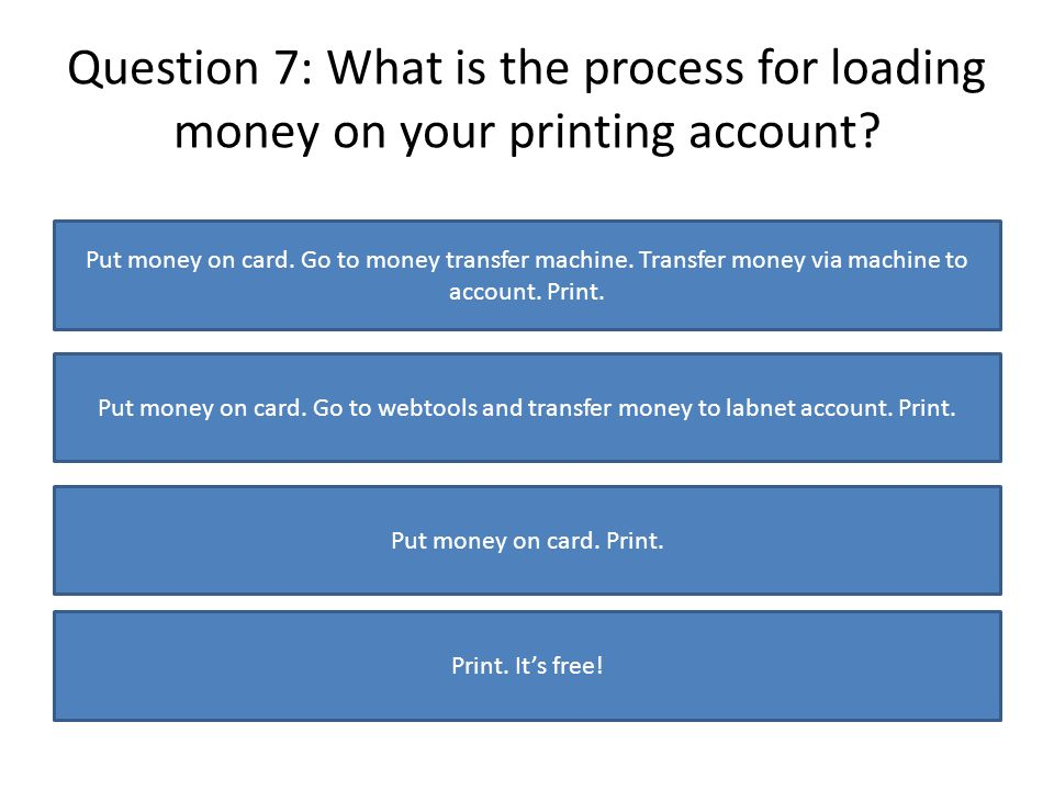 Question 7: What is the process for loading money on your printing account.