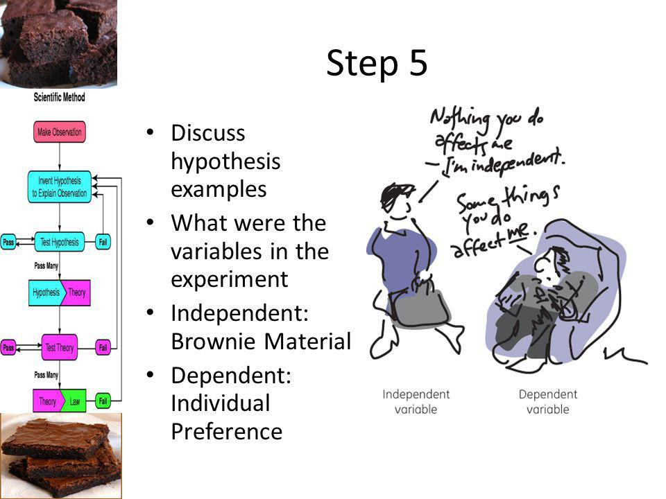 Step 5 Discuss hypothesis examples What were the variables in the experiment Independent: Brownie Material Dependent: Individual Preference