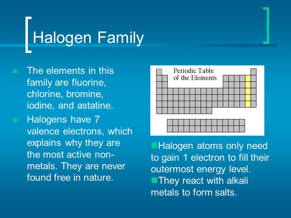 Halogen Family The elements in this family are fluorine, chlorine, bromine, iodine, and astatine. Halogens have 7 valence electrons, which explains wh