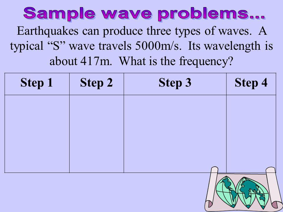 A wave is moving toward shore with a velocity of 5 m/s. If its frequency is 2.5 Hz, what is its wavelength? Step 1Step 2Step 3Step 4