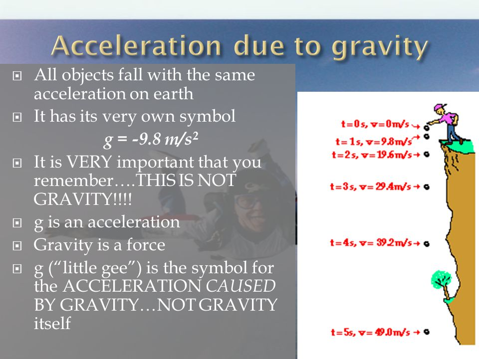 All objects fall with the same acceleration on earth It has its very own symbol g = -9.8 m/s 2 It is VERY important that you remember….THIS IS NOT GRAVITY!!!.
